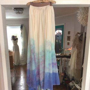 ORGANIC OMBRE Dyed Peacock Colors Wedding SKIRT